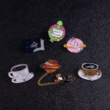 Cartoon Space Star Brooches Lapel Pins On Clothes Planet And Astronaut Badges Fashion Coffee Cup On Bag Jewelry Accessories DIY