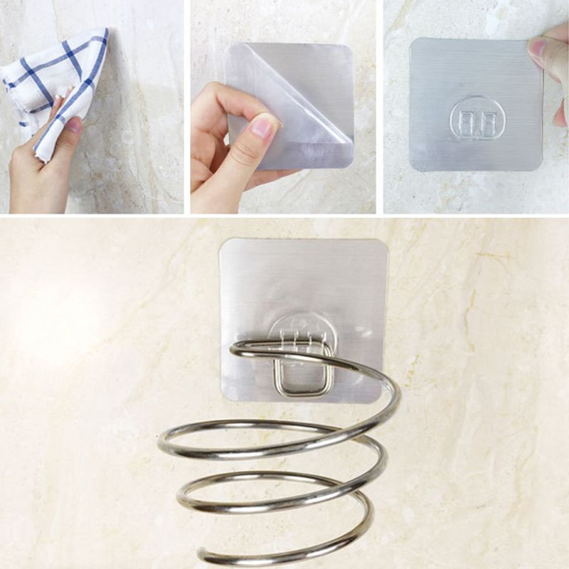 Adhesive Wall Mount Hair Dryer Holder Rack Blower Organizer Shelf Stainless Steel Spiral Stand Storage For Bathroom Barber