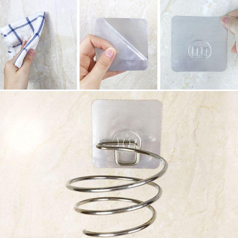 Adhesive Wall Mount Hair Dryer Holder Rack Blower Organizer Shelf Stainless Steel Spiral Stand Storage For Bathroom Barber