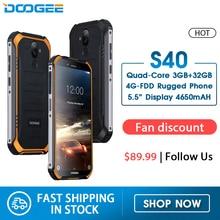 DOOGEE S40 4 3gnetwork MT6739 Rugged Mobile Phone 5.5 polegada Display 4650 mAh Quad Core 32 3 GB RAM GB ROM Android 9.0 8.0MP IP68/IP69K