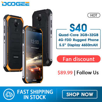 DOOGEE S40 4 GNetwork Robuste Handy 5,5 zoll Display 4650 mAh MT6739 Quad Core 3 GB RAM 32 GB ROM Android 9.0 8.0MP IP68/IP69K