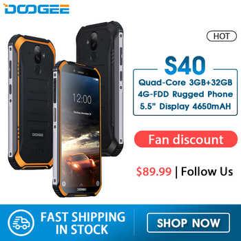 DOOGEE S40 4 GNetwork resistente teléfono móvil 5,5 pulgadas pantalla 4650 mAh MT6739 Quad Core 3 GB RAM 32 GB ROM Android 9,0 8.0MP IP68/IP69K