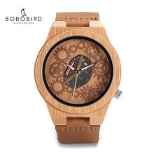 Bobo pássaro V B09 relógio de madeira de bambu dos homens 2035 movimento exposto design luminoso mãos relógio de quartzo montre homme marca de luxe