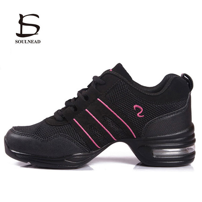 Modern Dance Shoes Sneakers For Women/Ladies Rubber Outsole Jazz Dancing Shoes Female Breath Mesh Sports Fitness Practice Shoes