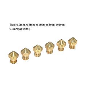 10 шт. MK10 медное сопло экструдера печатающая головка M7 резьбовой 0,2/0,3/0,4/0,5/0,6/0,8 мм для 1,75 мм нить 3D-принтеры Запчасти