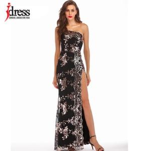 Image 5 - IDress Bölünmüş Parlak Elbiseler Zemin Pullu Bir Omuz uzun elbise için Kadın Vestidos Verano 2019 Mujer Yüksek Yarık Elbiseler