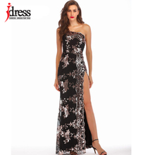 IDress Summer Women Sexy Sequined Evening Party Dress Female Elegant Backless Long Maxi Dress Vestido Elegant Long Party Dresses