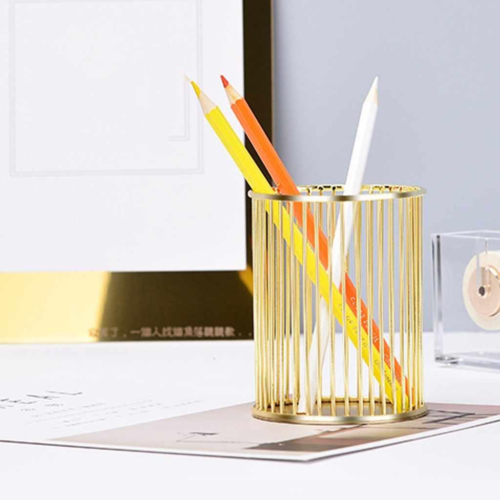 338x338 x38cm Gold Hollow Pen Pencil Pot Holder Makeup Brushes Storage Desk  Organiser Container Organizer Desk Stationery Decor
