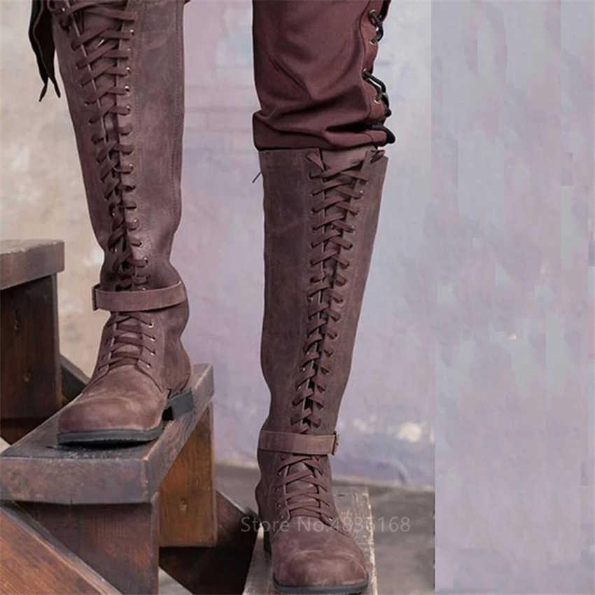 ימי הביניים תלבושות גברים אביר מגפי ויקינג קוספליי Larp נעלי עור מפוצל לוחם נשים קוספליי פנסי אתחול קרנבל המפלגה Steampunk