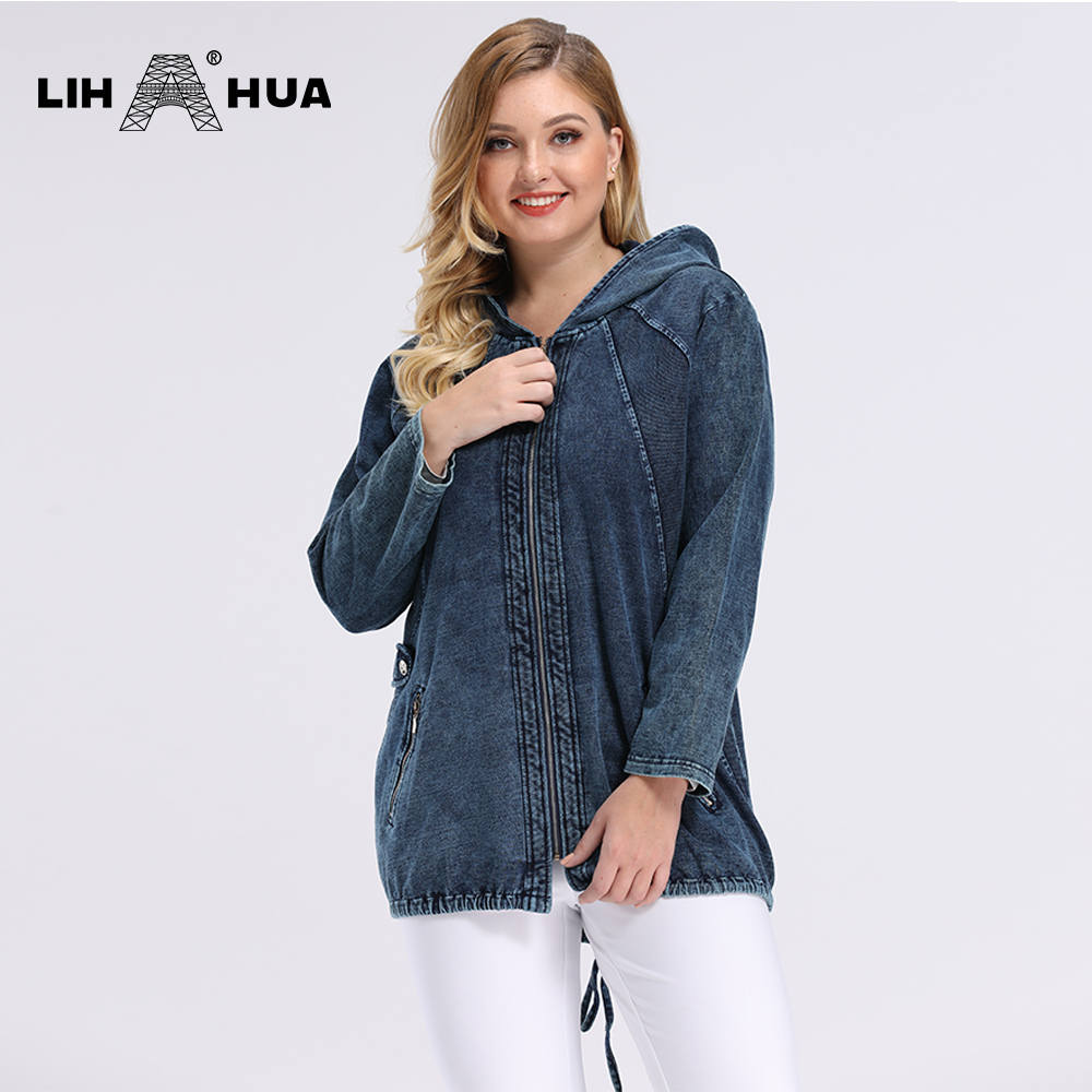 LIH HUA Women's Plus Size Spring Casual Denim Jacket Woman High Flexibility Jacket Hoodie Jacket Shoulder Pads For Clothing