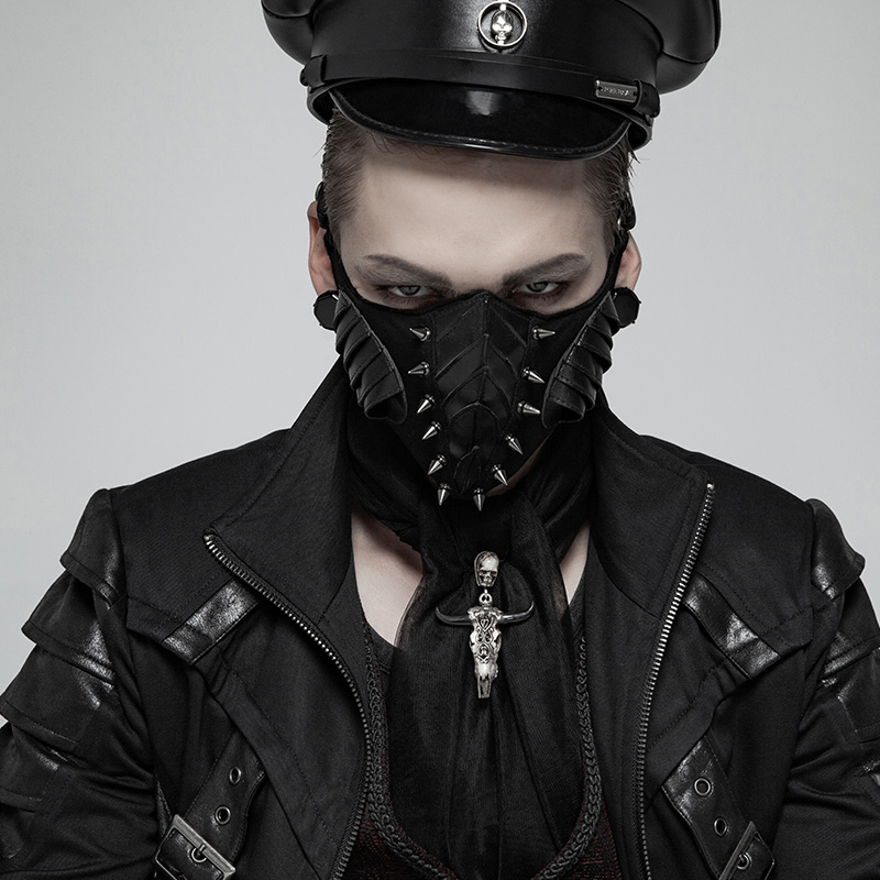 PUNK RAVE Men Punk Dark Mask Elastic Knit Centre Sharp Cone Nails Pu Leather Armor Modeling Personality Mask