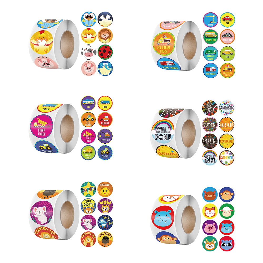 Animals Reward Stickers for Kids 500pcs/roll Encourage Seals Labels Scrapbooks Sticker for School Teacher Supplies Cute Stickers