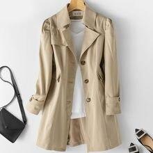 Trench-Coat mi-long pour femmes, coupe-vent, kaki, 5XL, nouvelle mode automne 2020, vêtements d'extérieur d'affaires brésiliens P175, grande taille