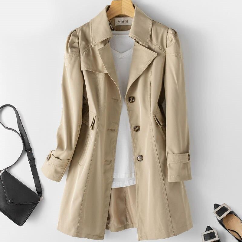 2020 New Fashion Autumn Women   Trench   Coat Plus Size 5XL Mid-long Khaki Windbreaker Female Abrigos Brazil Business Outerwear P175