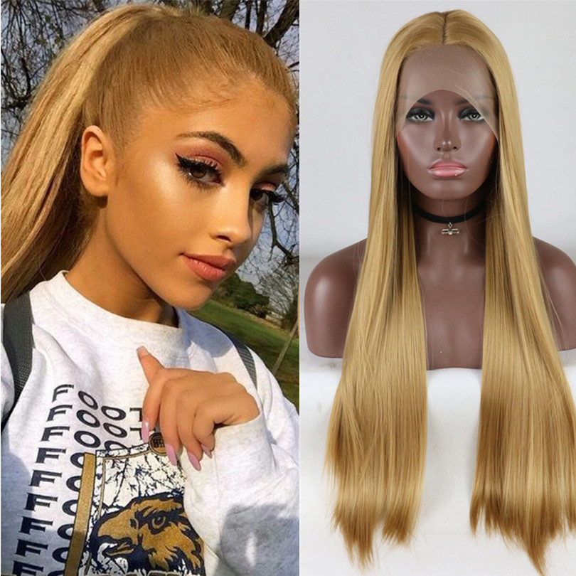 Lace Front Wigs Honey Blonde Long Straight Natural Hairline Heat Resistant Fiber Synthetic Wig For Women With Baby Hair