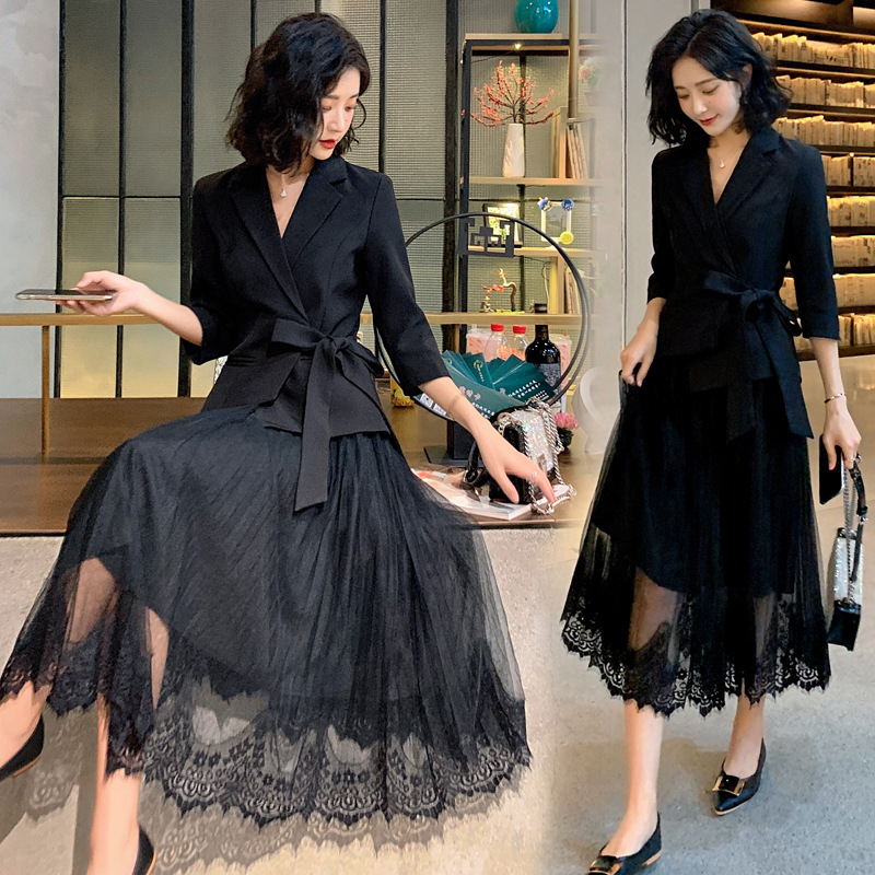 Elegant Office Lady Suit Lady Uniform Formal Skirt Suits Jacket 2 Piece Set Women Net Lace Blazer Skirt Set Women Skirt Suits