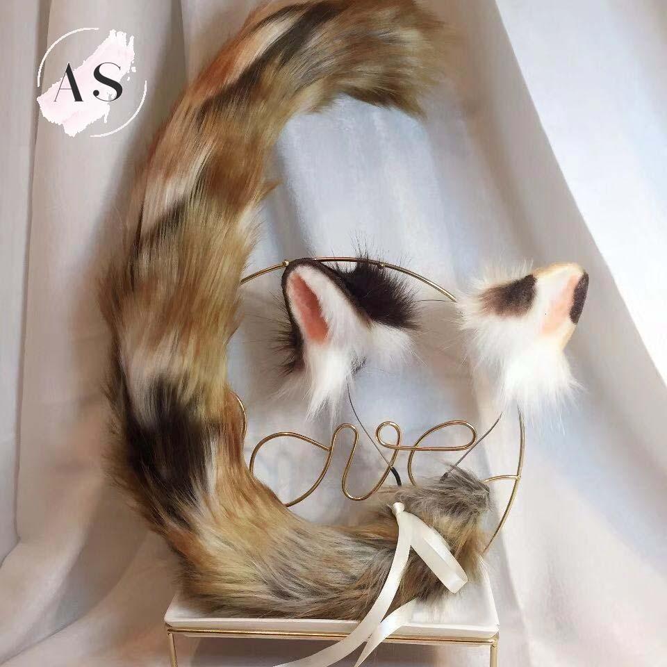 New Animal Sanhua Cat Original Beast Ear Kc Simulation Beast Tail Wolf Ear Cat Ear Fox Ear Hairband Custom Cosplay