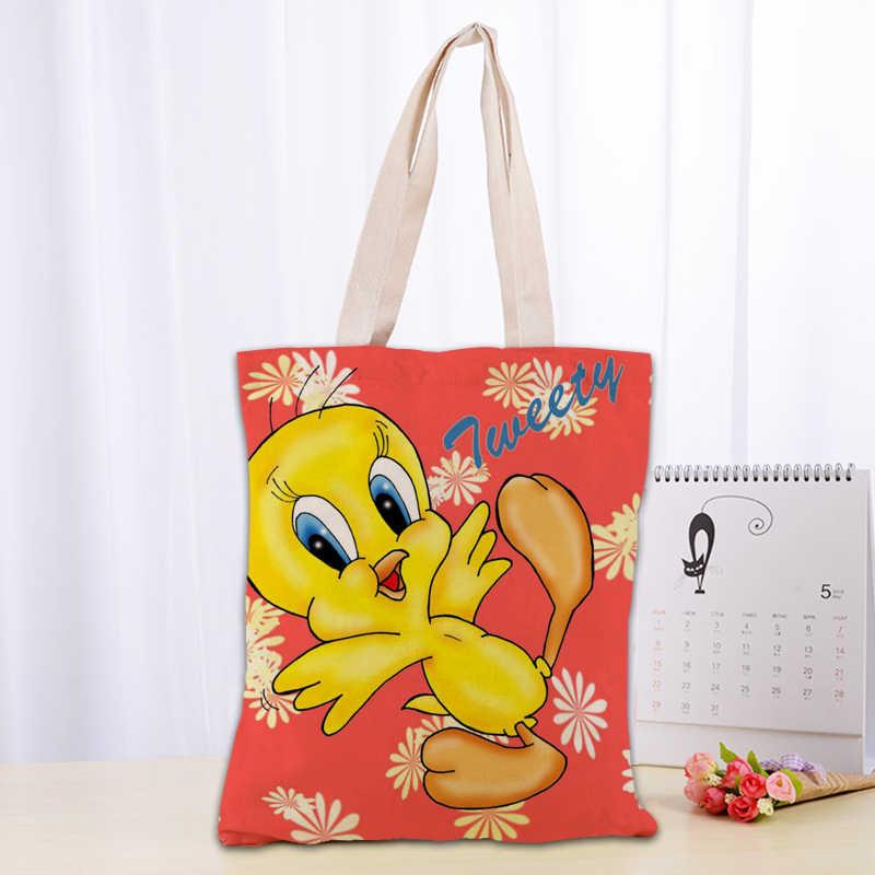 Hot tweety burung Gambar Kanvas Tote Tas 30X35cm Katun Linen Tas Nyaman Belanja Tas Tangan Wanita Logo Kustom