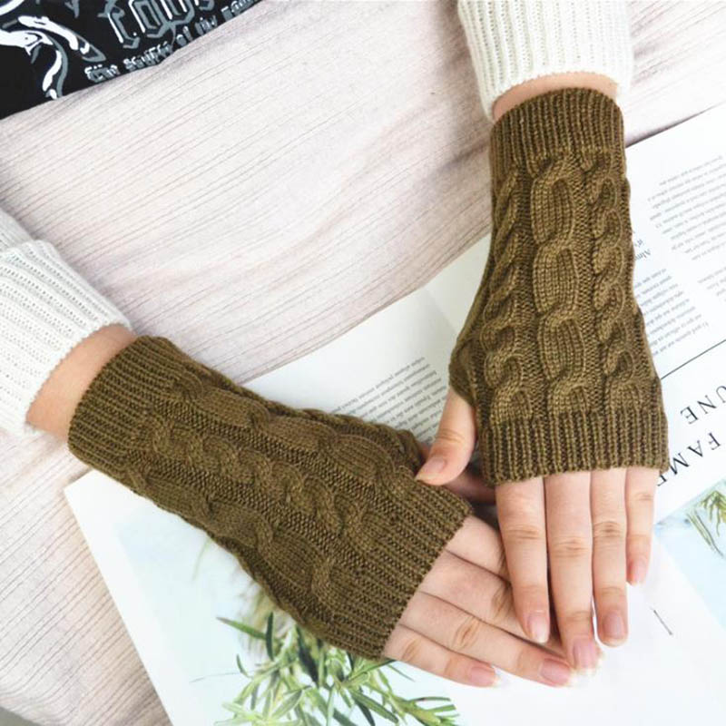 Calymel Fashion Simple Arm Warmer Sleeves Unisex Autumn And Winter Sleeves Half Finger Wool Warm Knit Gloves Sleeves