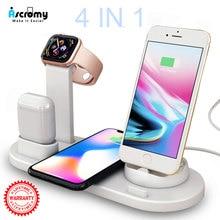 4 In 1ไร้สายชาร์จแท่นวางสำหรับApple Watch 3 2 Airpods iPhone X XS Max XR 8 Plus qi Fast Wireless Charger Stand Pad