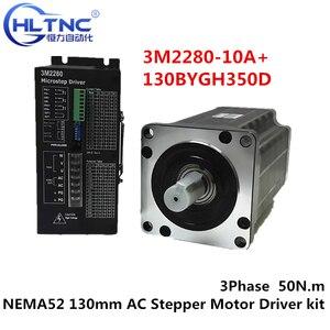 Image 1 - 3 เฟสNEMA52 130 มม.50N.M AC Stepperมอเตอร์CNC Stepper Motor 130BYGH350D 01 1.2 องศา 6.9A + ไดรฟ์ชุดDriver 3M2280 10A