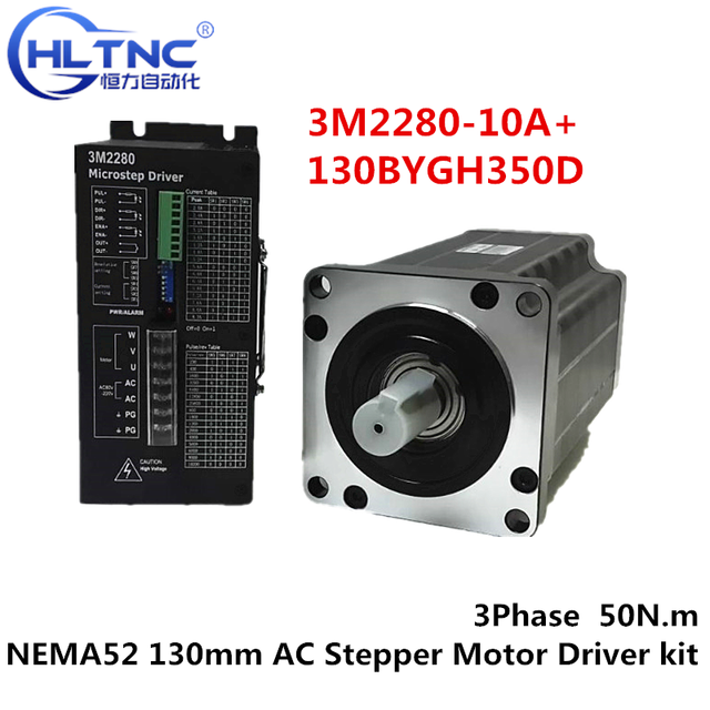 3 เฟสNEMA52 130 มม.50N.M AC Stepperมอเตอร์CNC Stepper Motor 130BYGH350D 01 1.2 องศา 6.9A + ไดรฟ์ชุดDriver 3M2280 10A