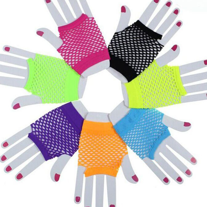 2020 Summer Women Girls Fashion Neon Candy Color Short Gloves Mittens Fingerless Half Finger Sexy Hollow Out Mesh Fishnet Gloves