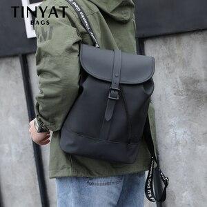TINYAT мужской рюкзак для 14 дюймов, мужской кожаный рюкзак, повседневный рюкзак на плечо, Мужской Дорожный Рюкзак Mochila
