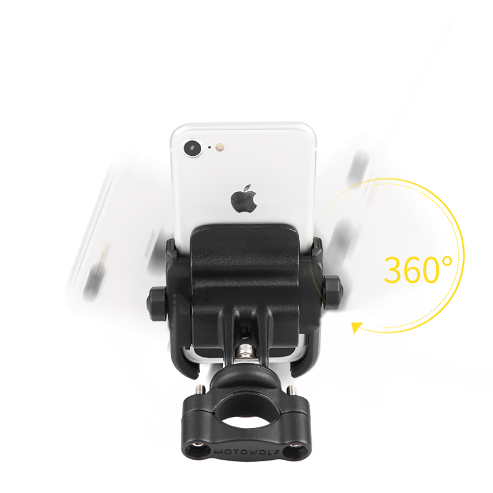 MOTOWOLF Motor Bike Bicycle Motorcycle Phone Mount Holder 360 Degrees Rotation Phone Holder for Iphone Samsung XIAOMI Universal in Universal Car Bracket from Automobiles Motorcycles