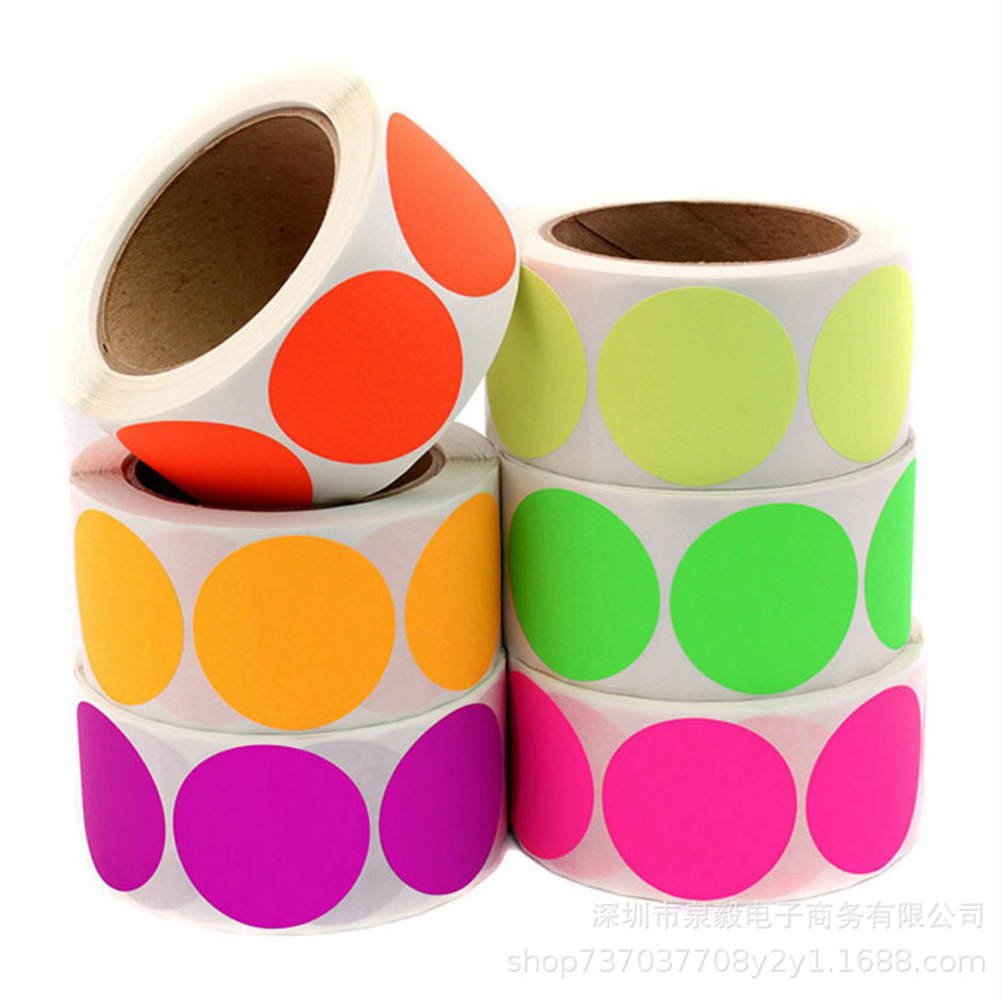 Chroma Label 1 Inch Color-Code Dot Labels Stickers 500/Roll Black,white,green,blue,orange,red,pink,yellow Stationery Stickers