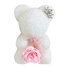 С кристалалми и стразами розовой мишкой на Рождество подарок ко Дню Святого Валентина вечный цветок Мишка со стразами подруги подарки на день рождения упаковка коробки