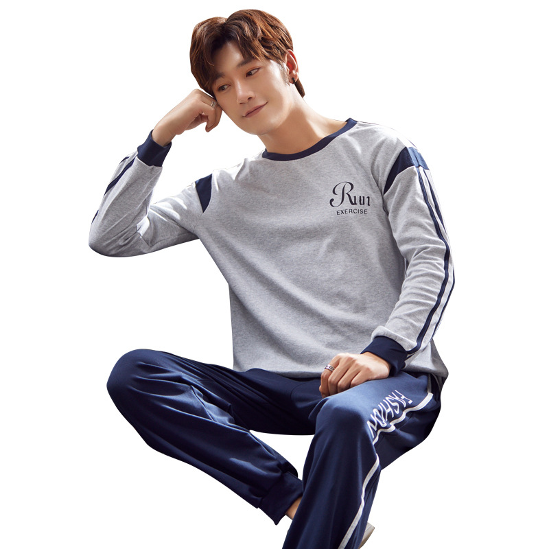 Pajamas-Set Nightie Sleep-Clothing Sleepwear Men Long-Sleeve Cotton Male Plus-Size