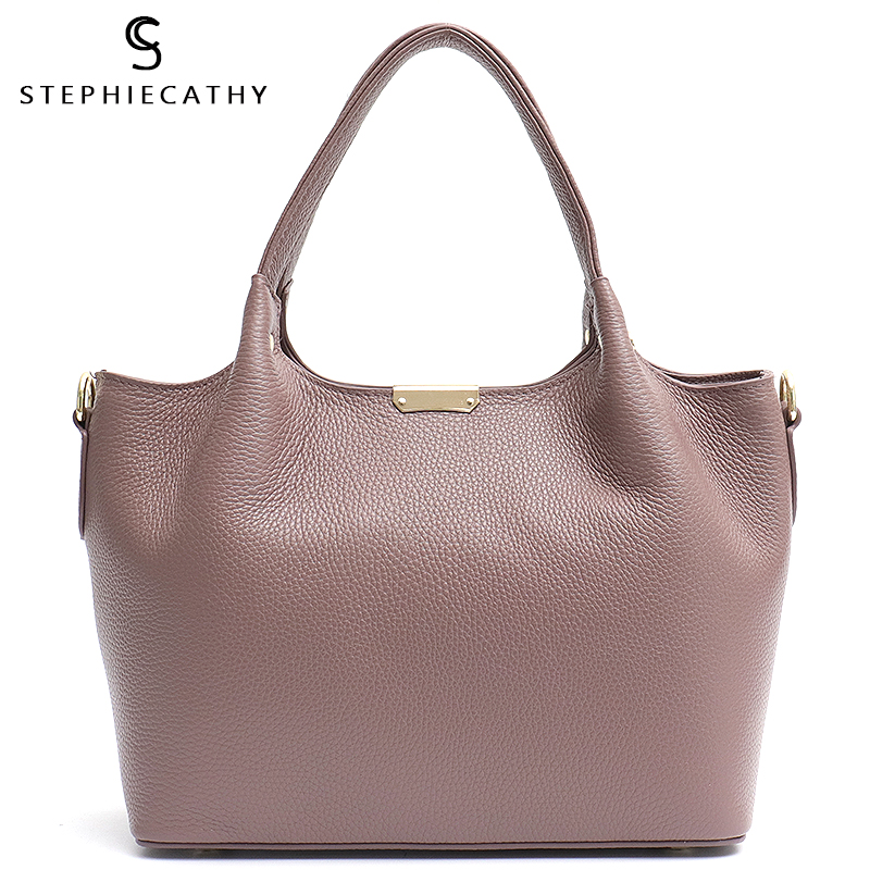 SC 100% Genuine Leather Bucket Bag Women Casual Tote Top-handle Shoulder Bags Brand Designer Ladies Crossbody Messenger Bag