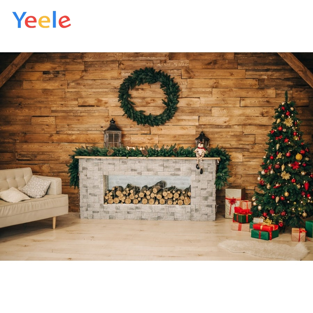 Christmas Backdrop Wood Board Fireplace Tree Gift Vintage Photography Background For Photo Studio Baby Portrait Photobooth