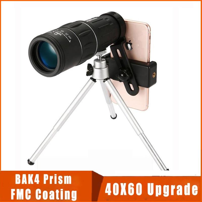 Powerful 40X60 Monocular Mobile Phone Telescope Waterproof Long Range High Zoom Binoculars for Camping Bird-watching day night