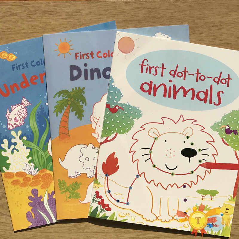 יפה מדבקת ספרי סצנת ציור קריקטורה מדבקות ספרי ילדי אנגלית ספרי צביעה עם מדבקות יום הולדת מתנות