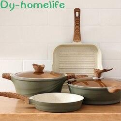 Японский креативный двухушный пшеничный рисовый камень, антипригарная сковорода, кухонная Домашняя индукционная плита с открытым пламене...