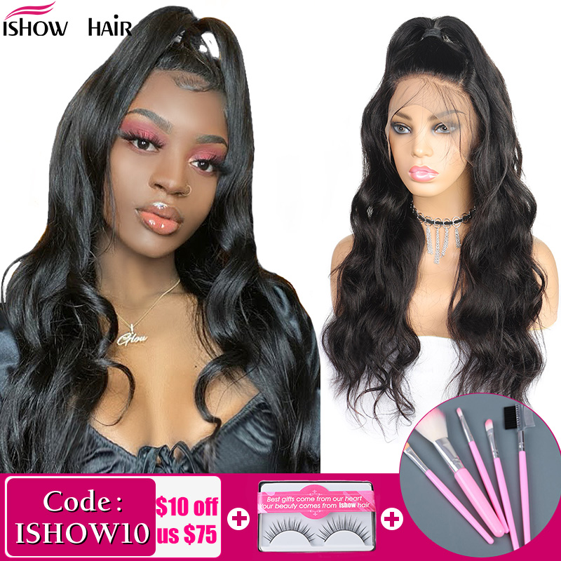 Ishow Body Wave Lace Front Human Hair Wigs For Women 360 Lace Frontal Wig 13x4 13x6 Lace Front Wig 150% 180% Remy Brazilian Wig