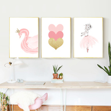 Poster Swan Baby Girl Posters Nordic Style Kids Decoration Wall Art Canvas Painting And Prints Ballet Unframed