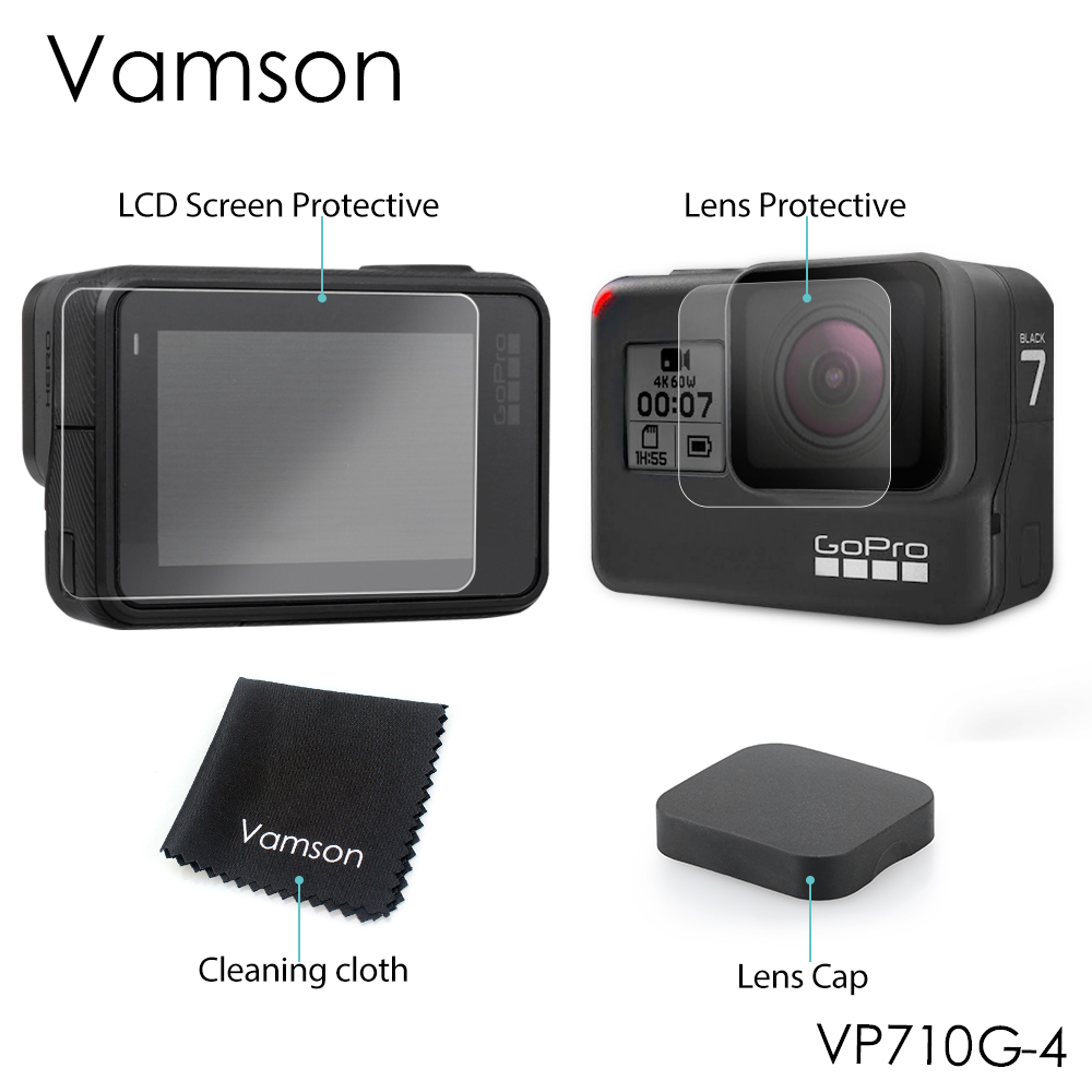 Vamson For GoPro Hero6 LCD Display Screen Protector For Go pro Hero7 5 Black Camera Lens Accessories Protective Film Case VP710G-in Sports Camcorder Cases from Consumer Electronics