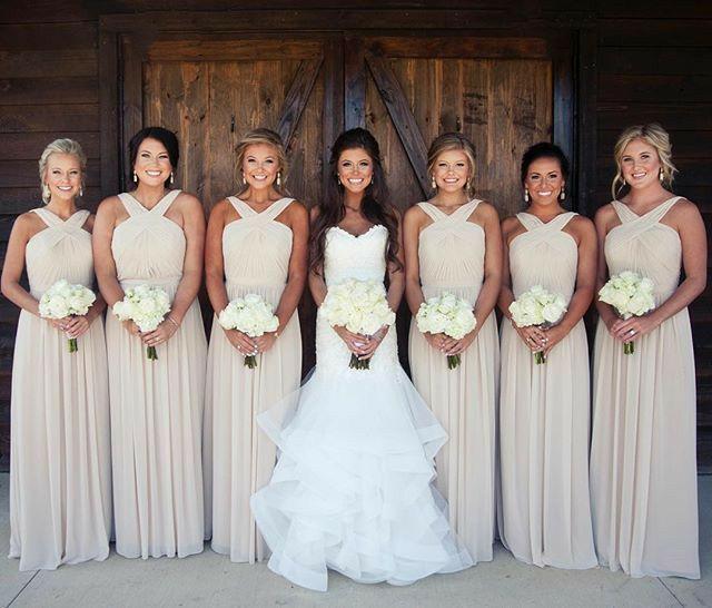 A-Line Long Chiffon Bridesmaid Dresses with Pockets Halter Pleated Floor Length Custom Corset Back Wedding Party Dress