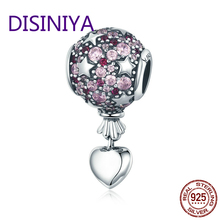 Authentic 925 Sterling Silver Romantic Love Balloon Hot Air Pendant Charm fit Charm Bracelet Necklace Jewelry Gift SCC517 hot european american style ancient silver steering wheel rudder charm pendant infinity love weaving bracelet women jewelry gift