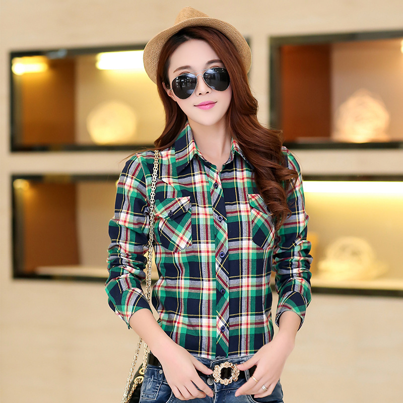 Autumn Spring Blouses Fashion Turn Down Collar Cotton Tops Women's Plaid Shirt Office Work Slim Long-Sleeve Shirts Blusas Mujer 9
