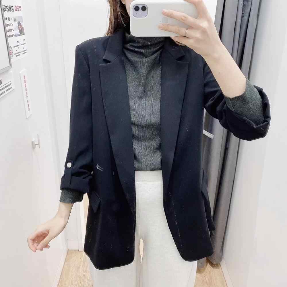 ZA 2020 delle Donne della molla nero a manica lunga allentato casuale di stile del cappotto della giacca sportiva femminile della tuta sportiva abbigliamento donna