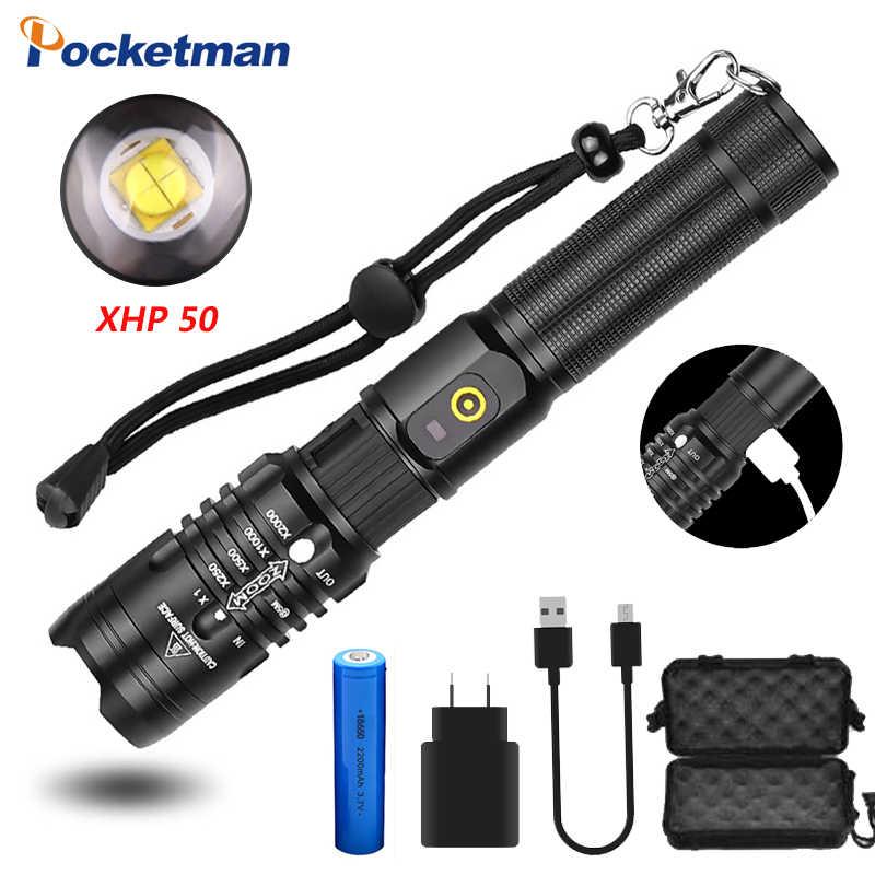 50000 L lúmenes linterna potente LED XHP50 antorcha USB recarga lámpara