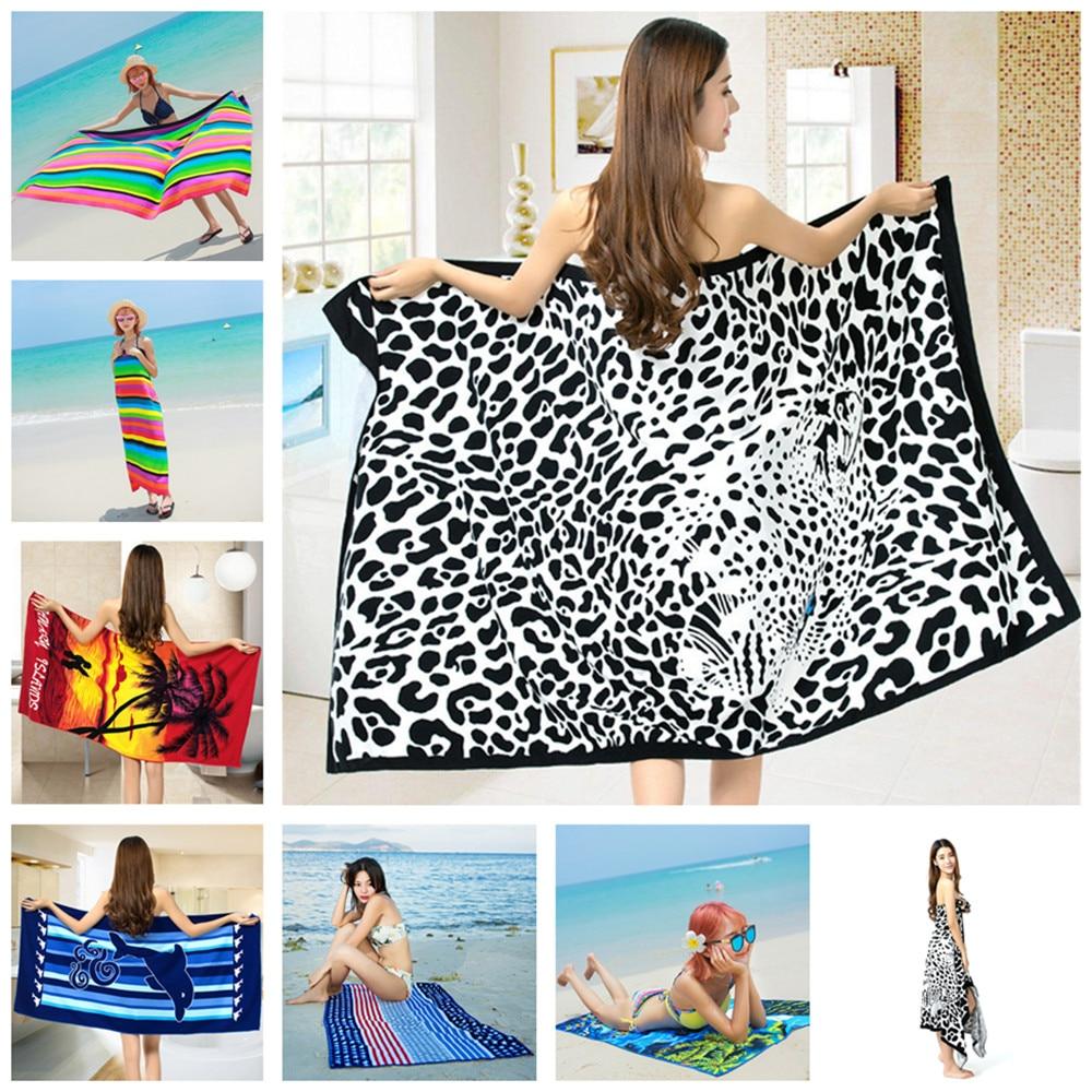 Large Microfiber Drying Bath Towel Printed Beach Swim Shower Towel Washcloth