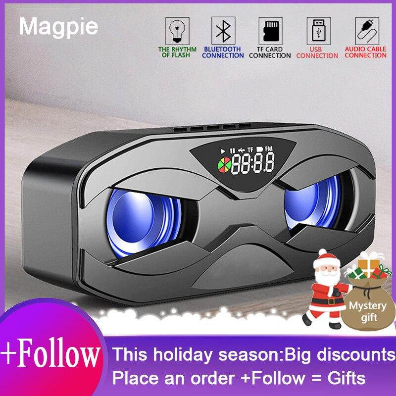 M8 Cool Robot Design Bluetooth Speaker LED Rhythm Flash Wireless Loudspeaker FM Radio Alarm Clock TF Card Support Subwoofer M5