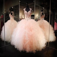 Ball-Gown Quinceanera-Dresses Puffy-Cap Angelsbridep Appliques Organza 15-Anos Sweet