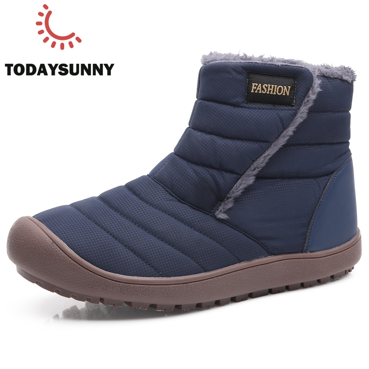 Men Winter Waterproof Snow Boots Couple Warm Fur Plush Ankle Boots Unisex Wear-Resistant Boots Men Winter Shoes Big Size 36-46