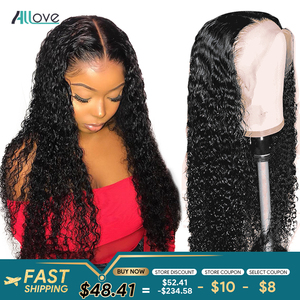 Allove Deep Wave Wig 13X6X1 Lace Front Human Hair Wigs Pre Plucked 150% Brazilian Human Hair Wigs For Women 4X4 Lace Closure Wig